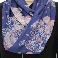 Handmade blue infinity scarf,floral white rose print, zero waste up-cycled, gift