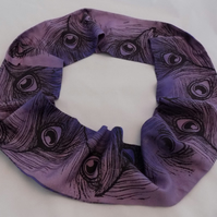 Dip dyed purple and blue infinity scarf,black peacock print,zero waste gift