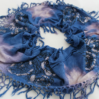 Blue and light purple hand dyed infinity scarf, handmade black floral rose print