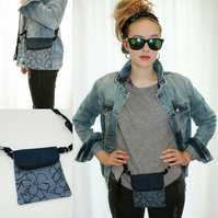 Handmade denim hip belt bag,across body festival bag,reversible,2 way wear, gift
