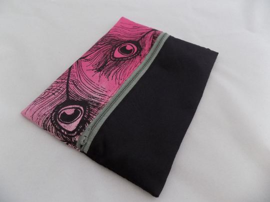 Zip up pink make up  bag, peacock hand print, zero waste up cycled pouch, gift.
