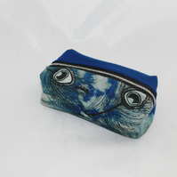 zip up blue make up bag,peacock hand print,zero waste pouch,cosmetic bag,gift.