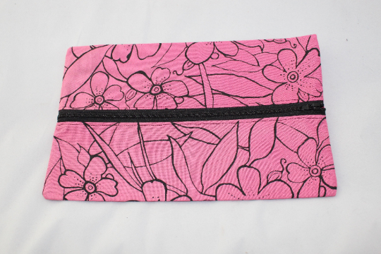 Zip up pink make up  bag,floral hand print, zero waste up cycled pouch, gift.