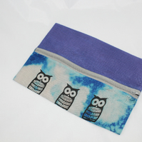 Zip up blue make up bag,owl hand print, zero waste up cycled pouch, gift.