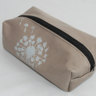zip up beige make up bag, hand print dandelion print, pouch, pencil case, gift