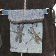 Handmade blue hip belt bag,cross body festival bag,reversible travel bag, gift.