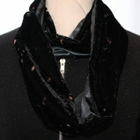 Stunning  black up-cycled scarf, handmade soft touch  velvet, zero waste gift.