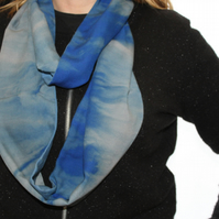 Turquoise and blue dip dyed ombre soft infinity cotton scarf, zero waste gift