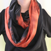 Soft cotton, upcycled handmade scarf, dip dyed, snood scarf, loop scarf, gift.