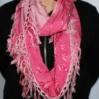 Fushcia pink dip dyed scarf,infinity loop scarf,up-cycled cotton,zero waste gift