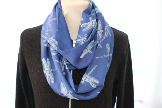 Blue and white dragonfly, designer scarf, hand printed,winter cotton scarf, gift