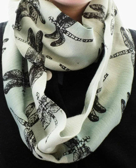 Green dragonfly infinity scarf, hand printed scarf, loop scarf,neck wear,gift