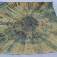 Unisex yellow target tie dye Eco bandana,up cycled zero waste neckerchief, gift