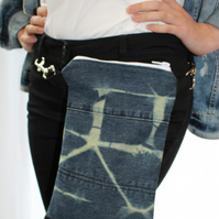Handmade cross body bag,2 way wear,Belt bag,re purposed denim,hand tie dyed,gift