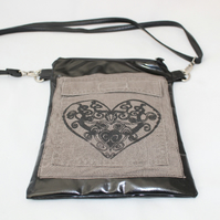 Handmade cross body re purposed bag,heart pattern,hand screen print, gift