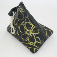 Handmade triangular black pyramid purse,Hand print floral,key ring pouch, gift