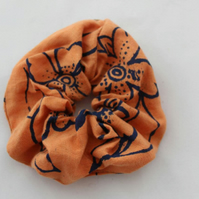 Elastic orange & blue hair scrunchie hand print floral,Eco hair accessory,gift