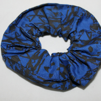 Elastic black & blue  scrunchie geometric hand print,Eco hair accessory,gift