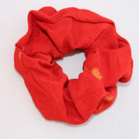 Elastic red hair scrunchie hand dyed,Eco hair accessory,gift
