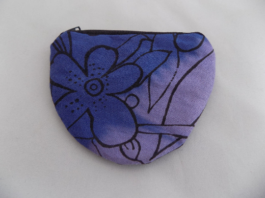 Handmade half moon blue and purple coin purse, hand print floral,stocking gift