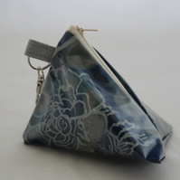 Handmade triangular blue PVC Eco pyramid purse,floral hand print ,key ring, gift