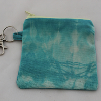 Handmade turquoise purse, hand tie dyed, Eco key-ring purse, coin pouch, gift.
