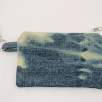 Handmade denim purse, hand tie dyed, Eco key-ring purse, coin pouch, gift.