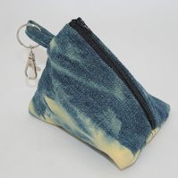 Handmade denim pyramid purse,hand tie dyed,Eco key-ring purse, coin pouch, gift.