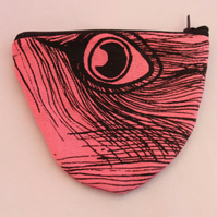Handmade half moon pink coin purse,cute peacock hand print,stocking filler gift