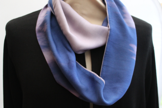 Unique soft cotton purple blue infinity dip dyed scarf,zero waste Eco scarf,gift