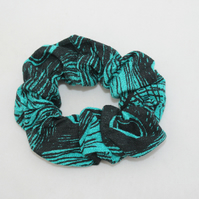 Elasticated hair scrunchie,peacock hand printed,Eco, zero waste scrunchie gift.