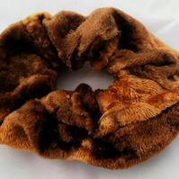 Elastic copper brown hair scrunchie soft velvet,Eco hair accessory,gift
