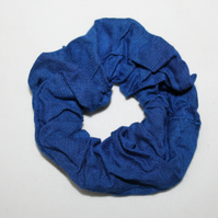 Elasticated electric blue cotton hair scrunchie, handmade,zero waste, gift