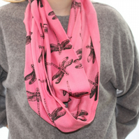 Pink scarf,Eco infinity scarf,dragonfly print, soft loop scarf, zero waste gift