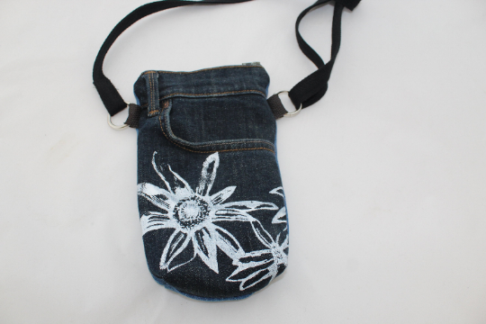 Handmade cross body re purposed denim bag,Hand screen printed floral print,gift.