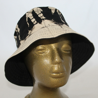 Tie dye bucket hat, upcycled zero waste hat, black and white hat, unisex gift.