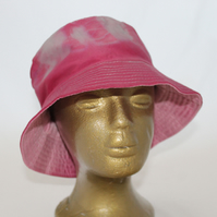 Tie dye bucket hat, upcycled zero waste hat, pink and blue hat, unisex gift.