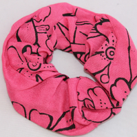 Elasticated hair scrunchie,hair tie,pink and black floral hand printed.gift