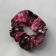 Elasticated hair scrunchie,hair tie,pink and black hand print peacock print.gift