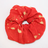 Elasticated red  hair scrunchie,hair accessory,hand dye handmade,zero waste,gift