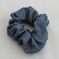 Elasticated sparkly denim hair scrunchie,hair accessory handmade,zero waste,gift