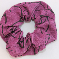 Elasticated hair scrunchie, purple floral hand print, handmade Eco gift.