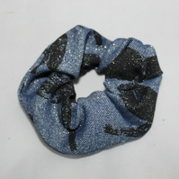 Elasticated denim hair scrunchie,dragonfly print handmade,zero waste,gift