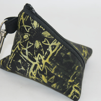 Handmade triangular black pyramid purse,geometric  print,key ring pouch, gift