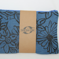 zip up blue make up bag, hand printed floral print,Eco bag,pouch,pencil case