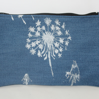 zip up blue make up bag, hand printed dandelion print,Eco bag,pouch,pencil case