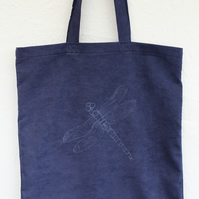 Handmade blue up cycled suede effect Tote bag,dragonfly screen print Bag,gift