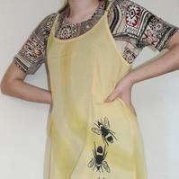Vintage 90's Ladies yellow bee print strappy dress,Summer reworked Eco dress,