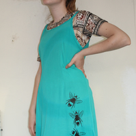 Vintage 90's Ladies turquoise bee print strappy dress,Summer reworked Eco dress,