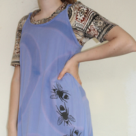Vintage 90's Ladies blue,bee print strappy dress,Summer reworked Eco dress,